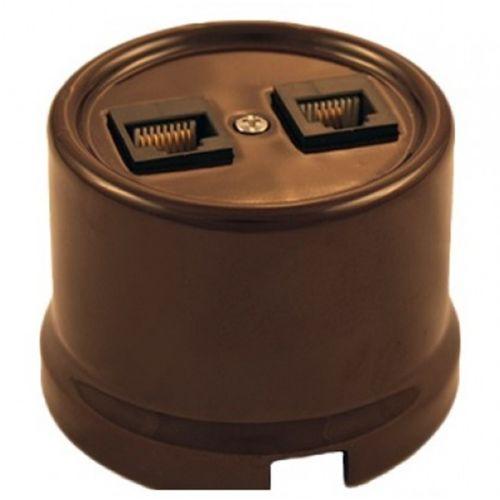 Розетка Bironi B1-302-02 коричневый, компьютерная 2-ая (RJ45)