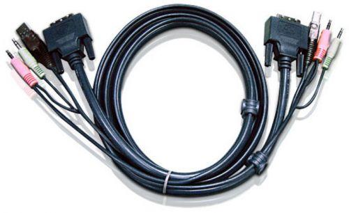 Кабель Aten 2L-7D02U мон+клав+мышь USB+аудио, DVI-D Digital+USB A-Тип+2xRCA=>DVI-D Digital+USB B-Тип+2xRCA, Male-Male, опрессованный, 1.8 м, черный