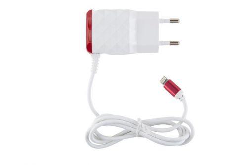 Зарядное устройство сетевое Red Line NC-2.1AC УТ000013620 2 USB+Lightning для Apple, 2.1A, красный зарядное устройство red line nc 2 1ac micro usb red