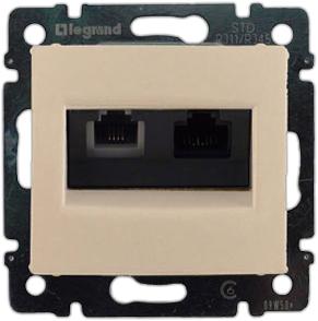 Розетка Legrand 774180 Valena двойная RJ 45, категория 5е/6, UTP + RJ 11 (слоновая кость)