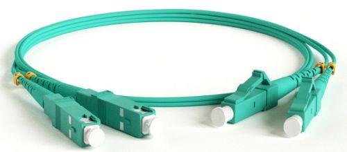 Кабель волоконно-оптический Hyperline FC-D2-503-LC/PR-SC/PR-H-3M-LSZH-AQ MM 50/125(OM3), LC-SC, duplex, 10G, LSZH, 3 м патч корд hyperline fc d2 50 sc pr sc pr h 2m lszh 2 м оранжевый