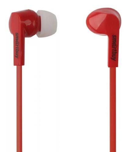 Наушники SmartBuy Prime SBE-130 динамики 10мм, плоский кабель, красные, 3 пары вставок