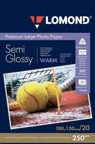 Фотобумага Lomond 1103305 ПРЕМИУМ для стр.печати 250 г/м2 односторонняя Semi-Glossy Warm 10х15см(20л)