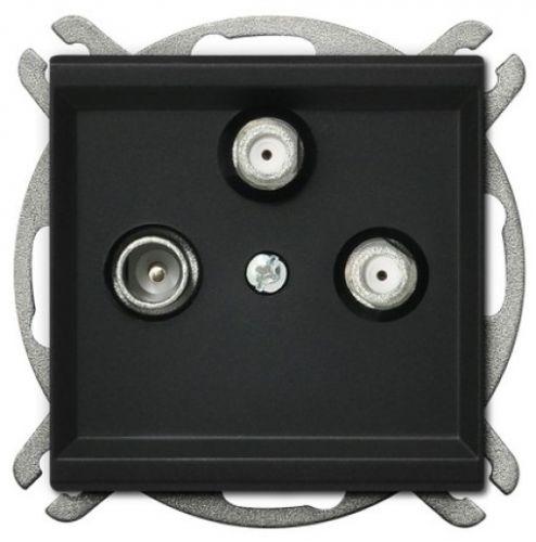 Розетка Ospel GPA-R2S/m/33 RTV-SAT, с двумя выходами SAT, черный металлик