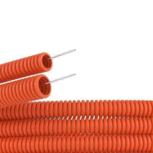 Труба гофрированная DKC 71516 ПНД d16мм, гибкая, тяжёлая, с протяжкой, цвет оранжевый