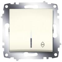 Переключатель ABB 619-010300-210 Cosmo одноклавишный, с подсветкой, 10А, 250В, IP20 (сх. 6) (кремовый)