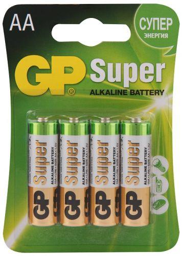 Батарейка GP Super Alkaline 15A LR6 15A-BC4 1.5V, 4шт, 2.5Ah, size AA недорого
