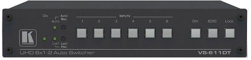 Коммутатор Kramer VS-611DT 20-00611090 6х1 HDMI с автоматическим переключением и дополнительным выходом HDBaseT, коммутация по наличию сигнала, поддер