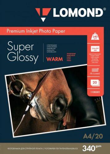 Фотобумага Lomond 1100301 ПРЕМИУМ для стр.печати А4, 340 г/м2 односторонняя Bright Super Glossy(20л)