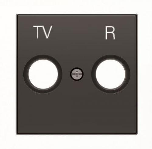 Накладка ABB 2CLA855000A1501 для TV-R розетки, чёрный бархат накладка abb 2cla851810a1501 для 1 го суппорта разъёма типа 2017 или 2018 со шторками и полем для надписи чёрный бархат