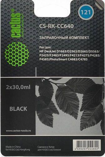 Заправочный комплект Cactus CS-RK-CC640 черный (2x30мл) HP DeskJet D1663/D2563 PhotoSmart; C4683/C4783