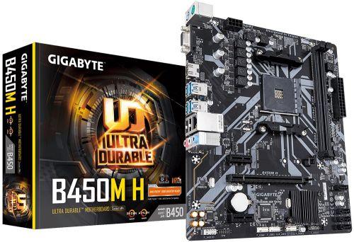 Материнская плата mATX GIGABYTE B450M H (AM4, AMD B450, 2*DDR4(3600), 4*SATA 6G RAID, M.2, 3*PCIE, 7.1CH, Glan, D-Sub/HDMI, 6*USB 3.1) материнская плата gigabyte b450 gaming x b450 socket am4 4xddr4 6xsata3 raid 1xm 2 2xpci e16x 4xusb3 1 dvi d hdmi glan atx