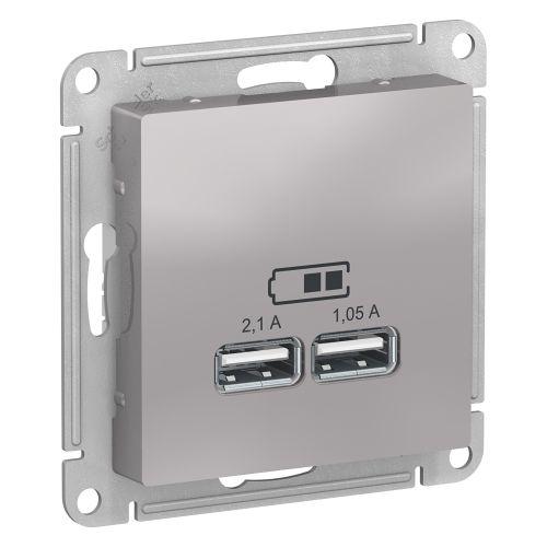 Розетка Schneider Electric ATN000333 AtlasDesign, USB, 5В, 1 порт x 2.1 А, 2 порта х 1.05 А, механизм, алюминий