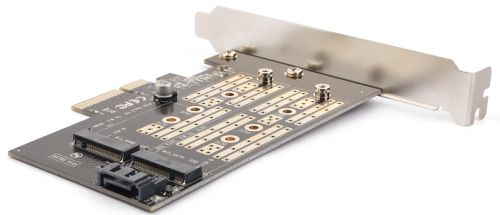 Адаптер AgeStar AS-MC02 PCI-E для M.2 SATA SSD+M.2 NVME SSD Card