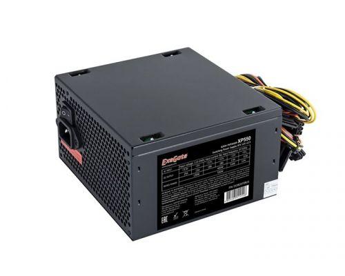 Блок питания ATX Exegate XP550 EX282070RUS 550W, black, 12cm fan, 24p+4p, 6/8p PCI-E, 3*SATA, 2*IDE, FDD блок питания atx exegate uns400 es261567rus 400w 12cm fan 24p 4p 3 sata 2 ide fdd