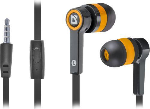 Гарнитура проводная Defender Pulse 420 63420 для смартфонов, черный/оранжевый, вставки