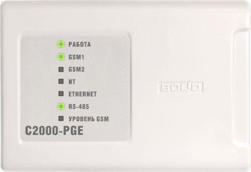 Устройство Болид С2000-PGE исп.01 оконечное объектовое, каналы передачи извещений: GSM, Ethernet, RS-485, U-пит.10…28В, I-потр.100мА (max), программ.