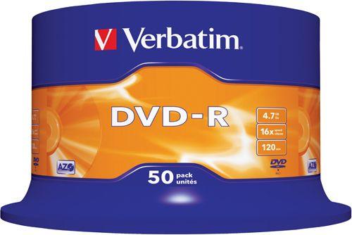 Диск DVD-R Verbatim 43548 4.7ГБ, 16x, 50 шт., Cake Box