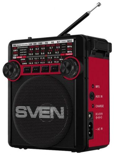 Радиоприемник Sven SRP-355 SV-017132 красная, 3Вт, USB, SD/microSD, FM/AM/SW, фонарь, встроенный аккумулятор