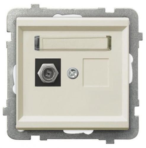 Розетка Ospel GPA-1RF/m/27 телевизионная типа F, одинарная, экрю