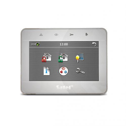 Клавиатура SATEL INT-TSG-SSW сенсорная, корпус серебро-серебро-светлое серебро. Возможность управления автоматикой дома + охранные функции + 4-е МАКРО