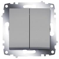 Выключатель ABB 619-011000-202 Cosmo двухклавишный, 10А, 250В, IP20 (алюминий) выключатель abb 619 011000 200 cosmo одноклавишный 10а 250в ip20 алюминий