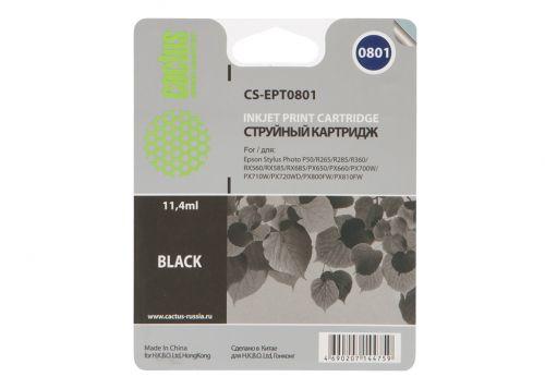 Картридж Cactus CS-EPT0801 для Epson Stylus Photo P50, черный, 300 стр., 11 мл.