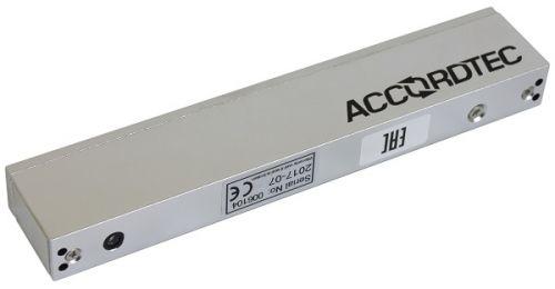Замок AccordTec ML-180AS электромагнитный, 180 кг удержания, 12 В/0,3 А, датчик холла (серый)