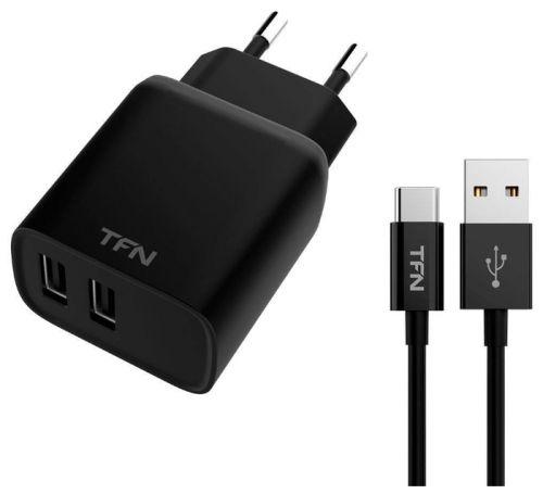 Фото - Зарядное устройство сетевое TFN WCRPD12W2U01 RAPID 2.4A+microUSB black автомобильное зарядное устройство tfn 1а microusb black