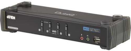 Переключатель KVM Aten CS1784A-AT-G KVM+Audio+USB 2.0, 1 user USB+DVI => 4 cpu USB+DVI, со шнурами USB 4х1.8м., 2560x1600 60Hz DVI-D Dual Link/2048x15