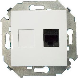 Розетка Simon 1591551-030 Simon 15 Белый компьютерная RJ45 кат.5e (AMP)