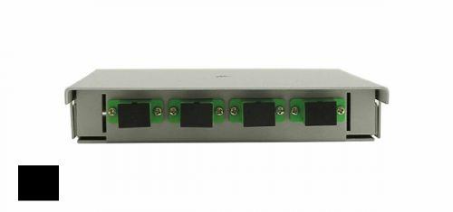 Кросс оптический настенный коробочный TELCORD КН-4 4-SC/SM-4-SC/UPC-SM-BK 163х123х23 мм, 4 адаптера SC/SM, 4 пигтейла SC/UPC SM (OS2 9/125), чёрный