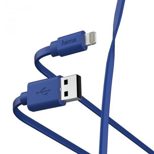 Фото - Кабель интерфейсный HAMA 00187232 Lightning/USB 2.0 (m), 1м, синий плоский кабель интерфейсный hama 00187232 lightning usb 2 0 m 1м синий плоский