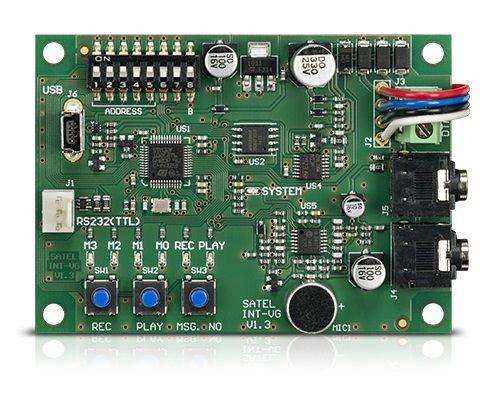 Модуль SATEL INT-VG для удаленного управления ПКП VERSA и INTEGRA с помощью клавиатуры телефона и голосового меню, для постановки/снятия ПКП с охраны,