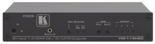 Коммутатор Kramer VM-114H2C 50-70961090 HDMI или DGKat, RS-232 и ИК-сигналов, передатчик по витой паре DGKat с 2 выходами и распределитель HDMI с 2 вы