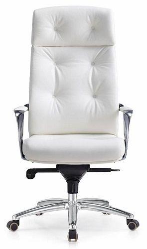 Кресло Бюрократ _DAO белое, кожа, крестовина алюминий