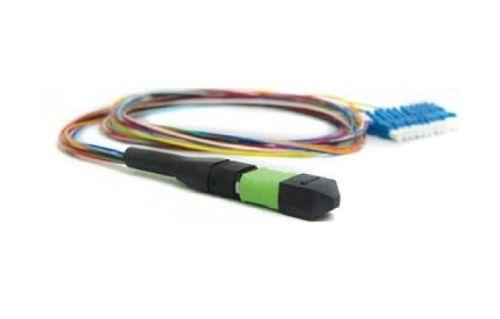 Кабель волоконно-оптический 50/125, 12 волокон Hyperline FH-B9-504-MTPM12/PR-12LC/PR-1M-LSZH гидра MTP (c направляющими штырьками)-LC, OM4, 10Gig, L 0 pr на 100
