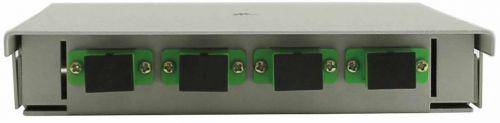 Кросс оптический настенный коробочный TELCORD КН-4 4-ST/APC-4-ST/APC-SM-GY 163х123х23 мм, 4 адаптера ST/APC, 4 пигтейла ST/APC SM (OS2 9/125), серый