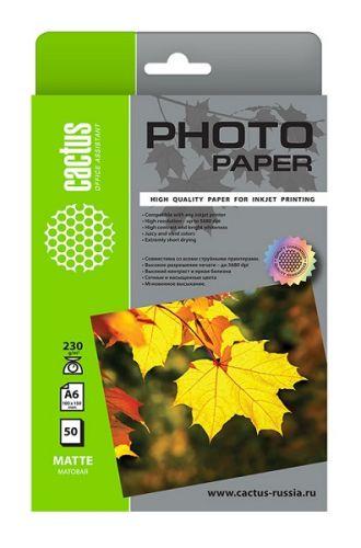 Фотобумага Cactus CS-MA623050 10x15/230г/м2/50л./белый матовое для струйной печати фотобумага cactus cs ga623050ed 10x15 230г м2 50л белый глянцевая для струйной печати