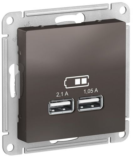 Розетка Schneider Electric ATN000633 AtlasDesign, USB, 5В, 1 порт x 2,1 А, 2 порта х 1.05 А, механизм, мокко