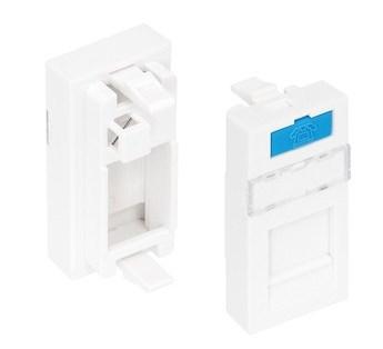 Вставка NikoMax NMC-PM1P-PH-WT типа Mosaic 22,5x45 мм, 1 порт, под модули-вставки типа KeyStone, со шторкой, белая