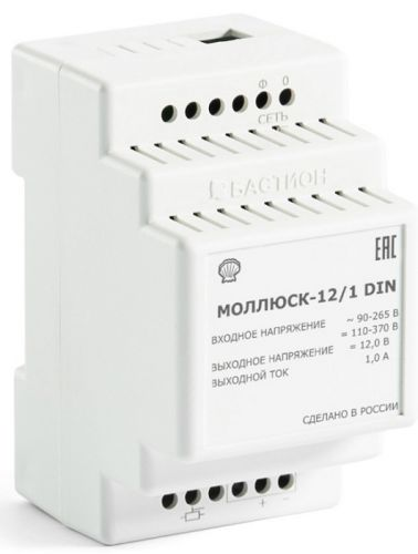 Источник питания Бастион Моллюск 12/1 DIN 12 В, 1 А, 90...264 В переменного тока, 110...370 В постоянного тока