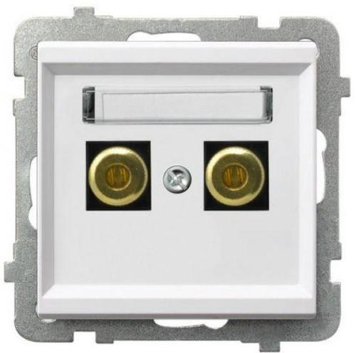 Розетка Ospel GGN-1R/m/00 для динамиков, одинарная, белый