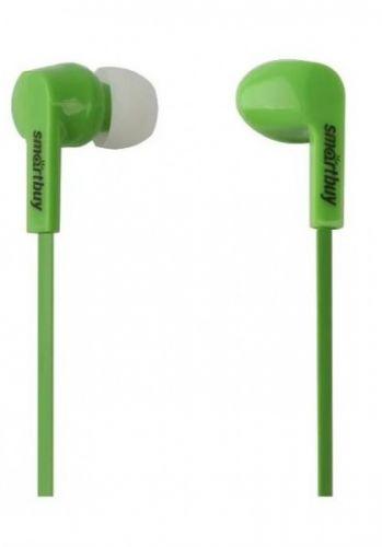 Наушники SmartBuy Prime SBE-155 динамики 10мм, плоский каб,зелен,3 пары вставок