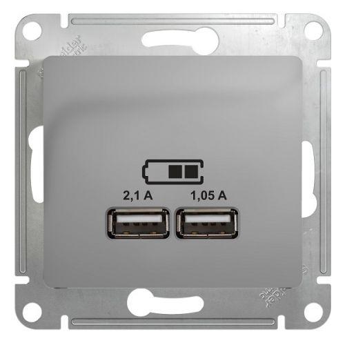 Розетка Schneider Electric GSL000333 Glossa, USB, 5В/2100мА, 2х5В/1050мА, механизм, алюминий