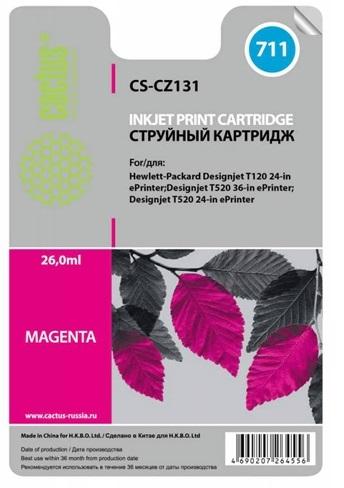 Фото - Картридж Cactus CS-CZ131 №711 пурпурный для HP DJ T120/T520 (26мл) картридж hp cz133a для hp dj t120 t520 черный