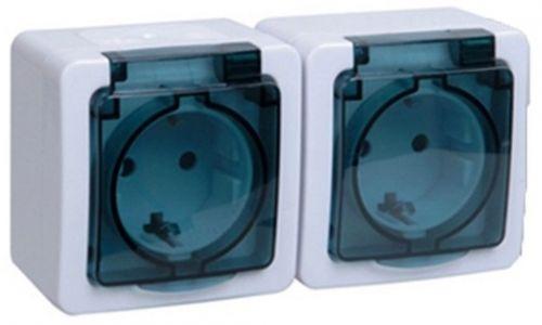 Розетка IEK ERMP22-K03-16-54-EC Гермес PLUS двойная наружная с заземлением с крышкой IP54