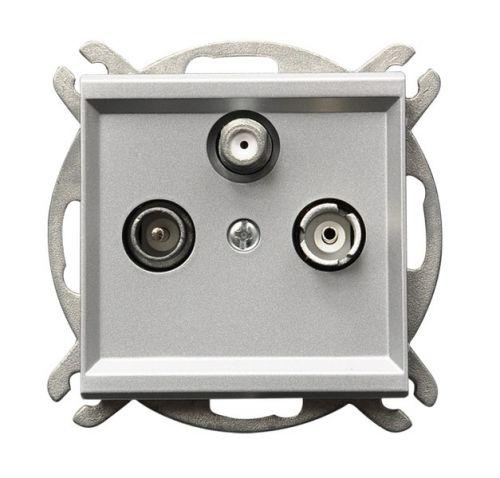 Розетка Ospel GPA-RS/m/38 RTV-SAT, оконечная, серебро матовое