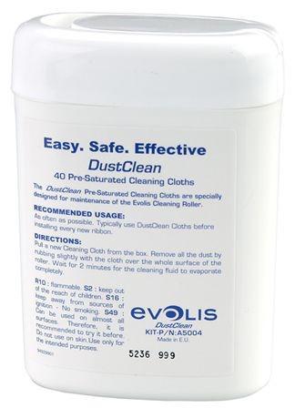 Набор для чистки Evolis A5004 принтера Tattoo, Pebble, Dualys, Securion, Quantum. Для чистки очищающих валиков (Упаковка (40) чистящих влажных салфето