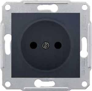 Розетка Schneider Electric SDN2900170 Sedna 1-я без заземления, без шторок,16А, 250В (графит)